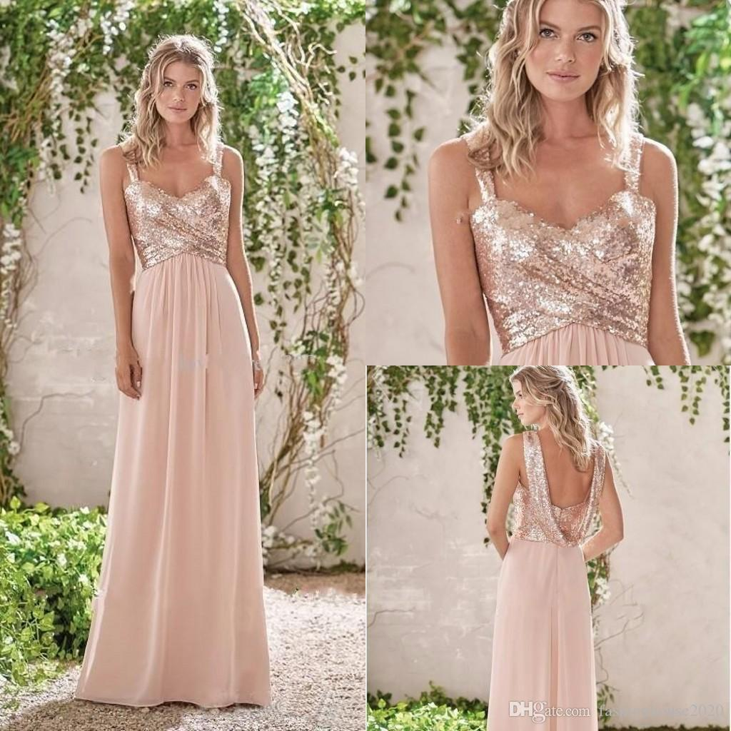 bridesmaid dresses 2018 blush pink spaghetti straps sequins ruched sleeveless backless chiffon