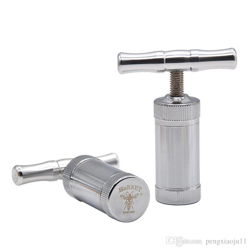 En Stock En Alliage de Zinc Pollen Presse Compresseur Herb Crème à Épaule Tabac Pollen Presser Tabac Meuleuse Accessoires Livraison Gratuite