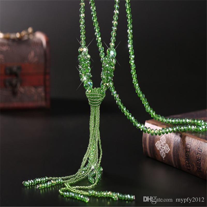 Crystal collar con cadena larga borla collar regalos de joyas de boda borla Gargantillas para mujeres Los regalos Mix Colors CF