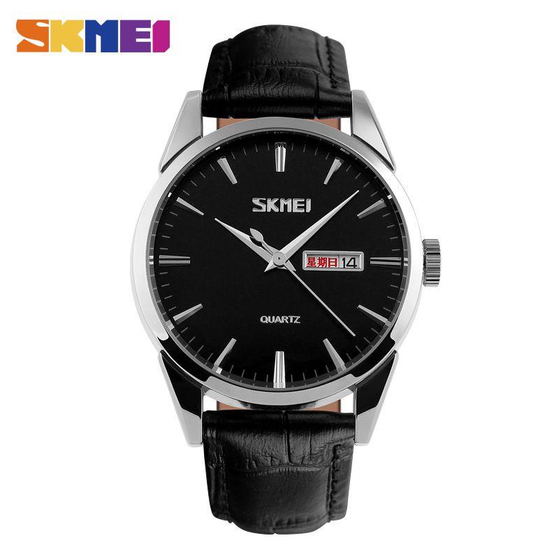 0ac14b507ff6 Compre Skmei Relojes De Cuarzo Hombres Moda Casual Calendario Completo Reloj  De Aleación Dial 30m Relojes De Pulsera De Lujo Resistente Al Agua 9073 A  ...