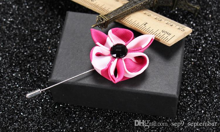 Rhinestone Brooches Handmade Multicolor Casual Mens Flower Lapel Pins Brooches New Arrival Wedding Groom Lapel Pin