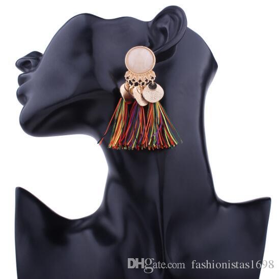 Новый европейский и американский гиперболический сплав смолы кисточкой серьги Богемии стиль моды популярные разноцветные кисточкой серьги