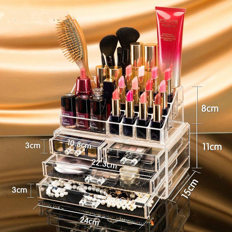 Maquillage Organisateur De Stockage Boîte Acrylique Maquillage Cosmétique Organisateur Maquillage Tiroirs De Rangement Organisateur Organisateur Livraison Gratuite