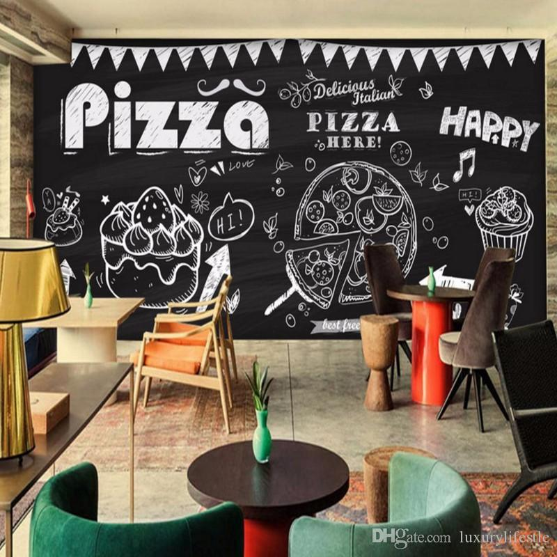 Hand art painting pizza cake stereo bedroom living room for Definition for mural