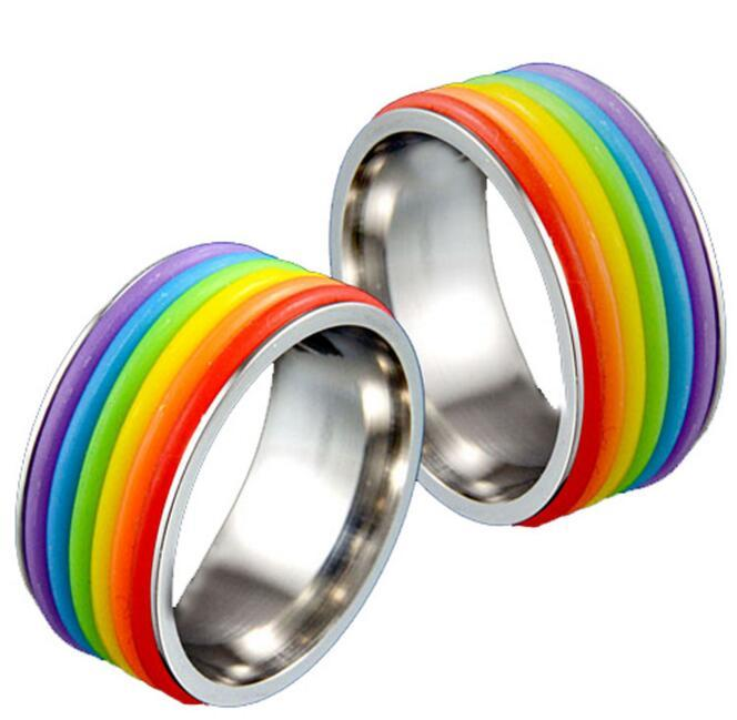 2016 stainless steel lesbian bisexual lgbt gay pride homosexual rings same sexuality rainbow ring gay jewelry for men and women vintage wedding rings gold - Rainbow Wedding Rings