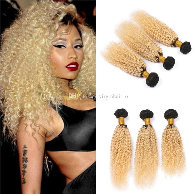 8a Blonde Dark Roots Ombre Afro Kinky Curly Weave Two Tone 1b613
