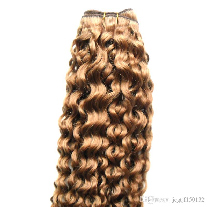 Светло-коричневый бразильский кудрявый вьющиеся человеческие волосы вьющиеся пучки 100 г бразильский глубокий вьющиеся девственные волосы ткет 100 г / шт.