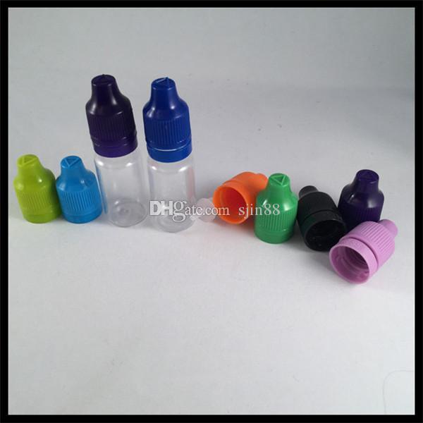10 مل زجاجات بلاستيكية واضحة للعصير VAPE مع غطاء عبث Childproof ونصائح طويلة رقيقة القطارة ل E سيج السائل