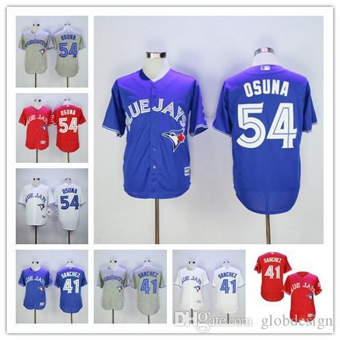 9c8e82586 ... wholesale 2017 54 roberto osuna 45 francisco liriano jersey toronto  blue jays baseball vintage flexbase cool