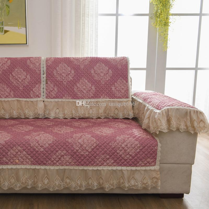 Bon Unique Pink Flower Elegant Sofa Pillow Couch Cushion Cover Towel Slipcovers  Pastoral Style Non Slip Anti Skid Mat Carpet Blanket Bedspread White Chair  ...