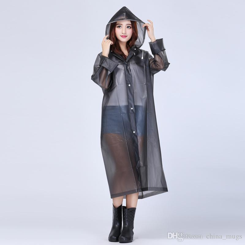 New 2018 High-grade Knee Length Rainwear Transparent Waterproof Hooded Rain Coat EVA Friendly EVA Transparent Raincoat Women Rainwear