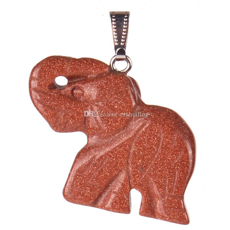 Opal Opalite Tigerauge Elefant Naturstein geschnitzt 32 * 25mm Figur Chakra Perle Anhänger Heilung Crystal Reiki Feng Shui bringen viel Glück