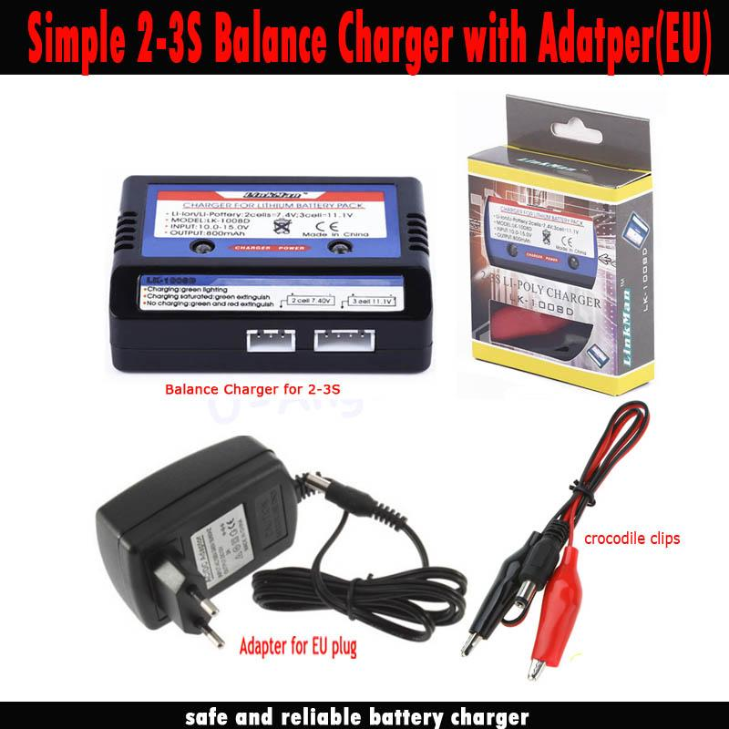 New RC Battery Charger Balance charger for 7.4-11.V 2-3S 2S 3S Cells Li-PO Battery RC Car Airsoft Air Guns LK-1008D+Adapter EU