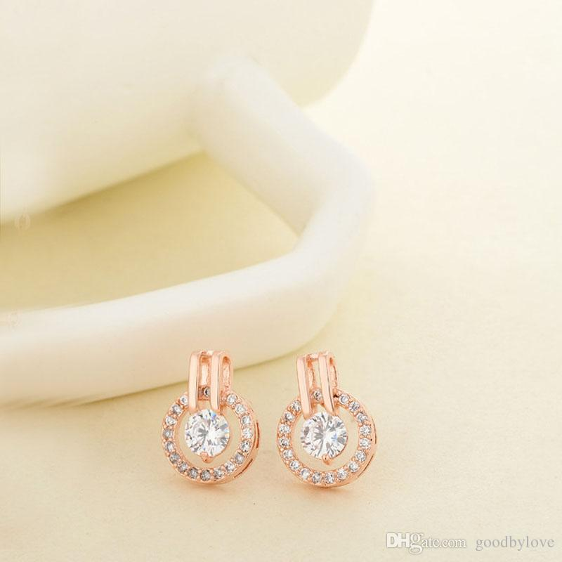 New White or Rose Gold Color Round Circle Paved Zircon CZ Stone Crystals Piercing Stud Earrings for Women Jewelry Aros Bijoux