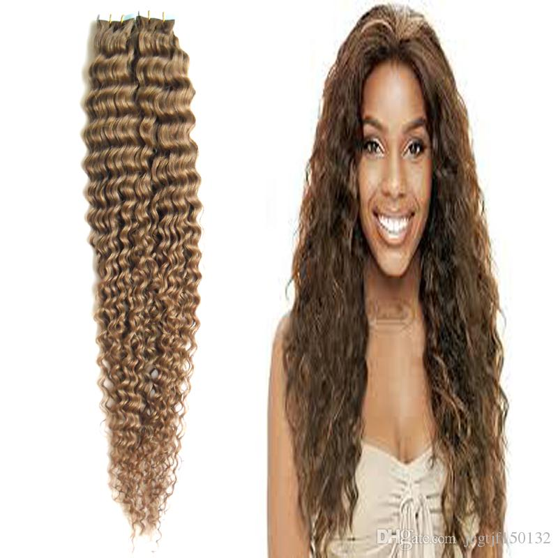 #6 Medium Brown Deep Curly Brazilian Virgin Hair Tape in Curly Extension Hair 6A 100g pu skin weft hair extensions
