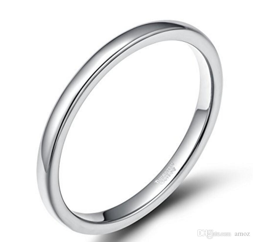 2mm Silver Rose Gold Tungsten Carbide Rings For Women High