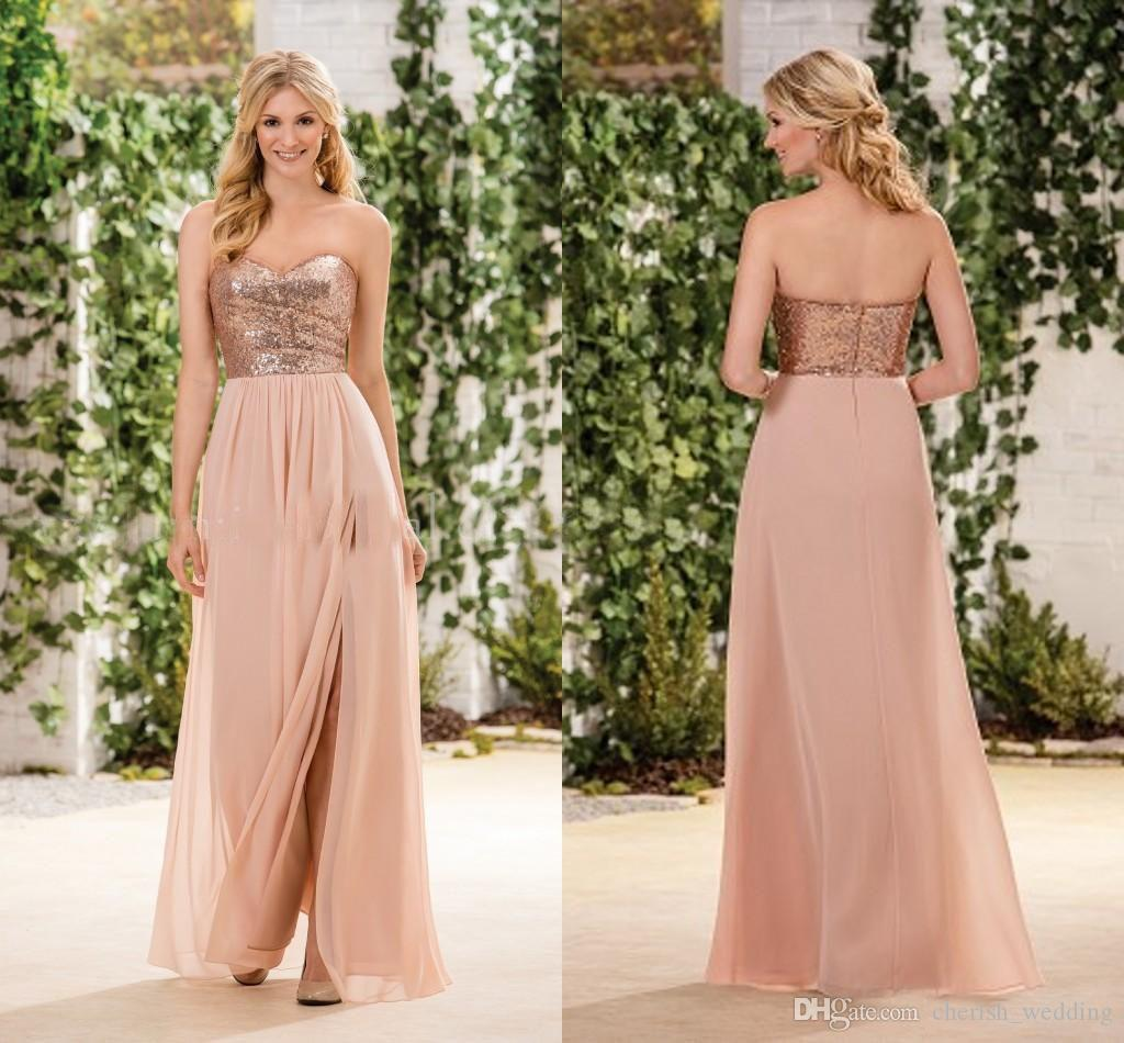 Long Cheap Rose Gold Bridesmaid Dresses A Line Sequins Top Chiffon Side  Split Sweetheart Wedding Party Maid Of Honor Dresses Plus Size Yellow  Bridesmaids ... 2e1e93852987