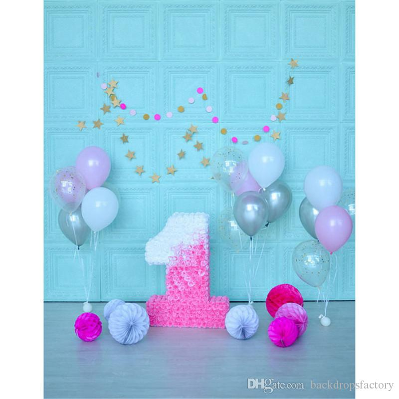 2019 Indoor Blue Wall Photograpgy Backgroud Pink Flowers Baby GirlS 1st Birthday Party Backdrop Colorful Balloons Kids Photo Shoot Props From