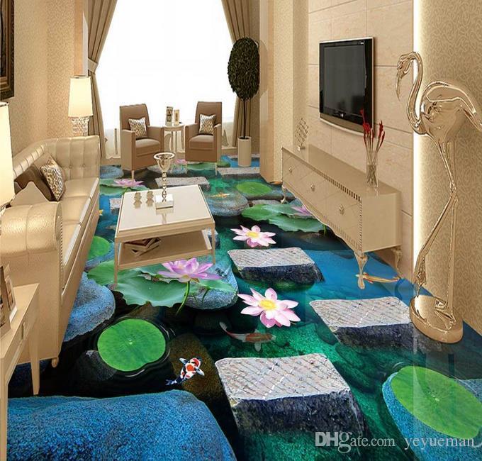 Wasserdichte Umweltschutz PVC-Bodenbelag wasserdicht selbstklebende Tapete anpassen HD Stein Gehweg Flusswasser Boden Malerei