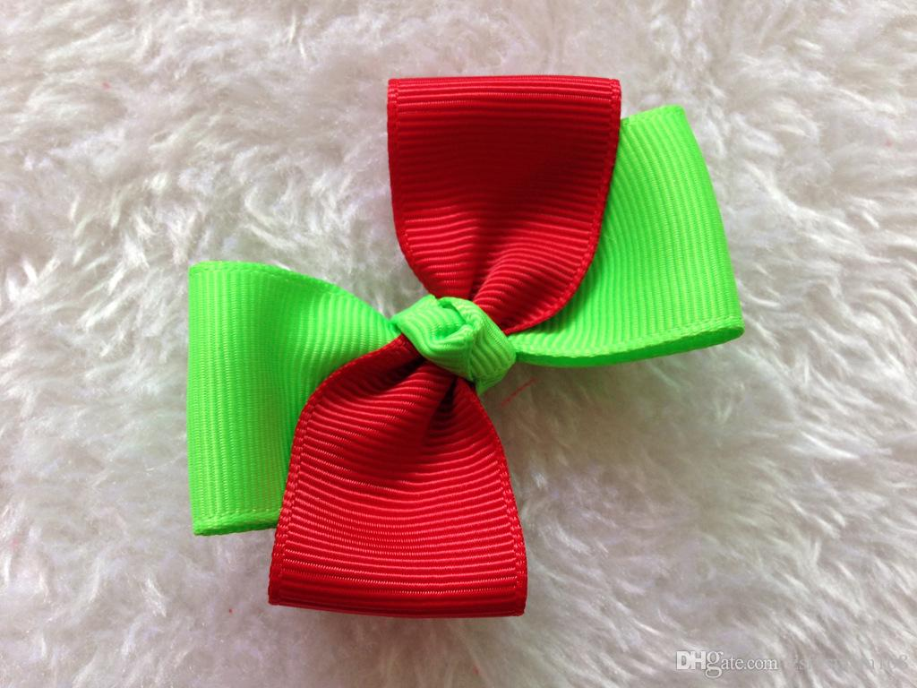 Two - color ribbed ribbon bow wedding DIY decoration children hair ornaments headdress