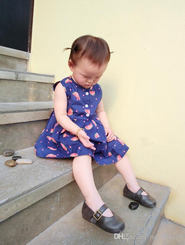 Summer Cute Baby Girls Clothes Children Dresses Fashion Blue Print Watermelon Sleeveless Dress Kids Clothing 2-7Y