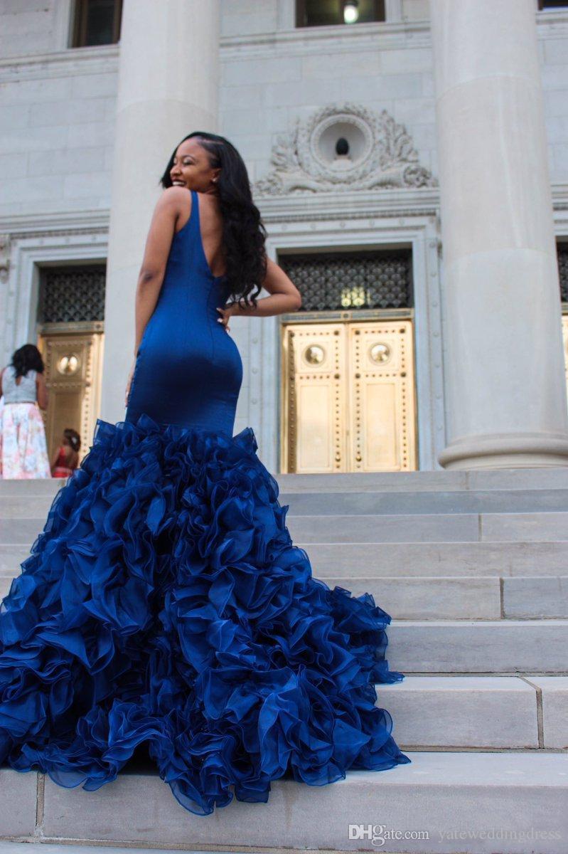 Royal Blue Evening Suknie Zanurzanie Rękawów Prom Suknie Mermaid Lost Wzburzony Niestandardowy Wykonany Formalna okazja Party Suknie Gorąca Sprzedaż Sexy 2017