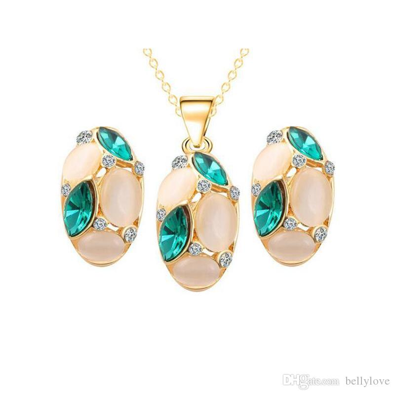 Bridal Wedding Jewelry Sets 18K Gold Plated Opal CZ Crystal Cluster Stud Earrings Pendant Chain Necklace for Women Festive Gift