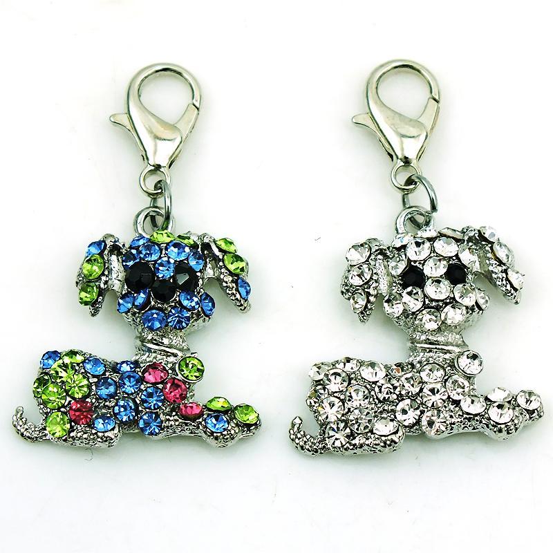 الأزياء العائمة سحر مع المشبك جراد البحر حجر الراين كبير الأذن الكلب الحيوانات diy سحر لصنع المجوهرات الملحقات