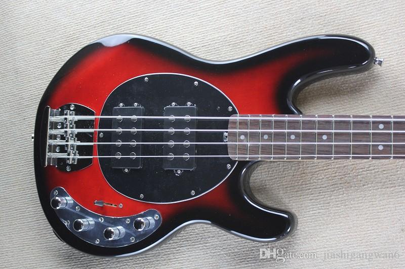 Factory wholesale music man stingRay 4 strings red Electric bass guitar with 9V Battery active pickups