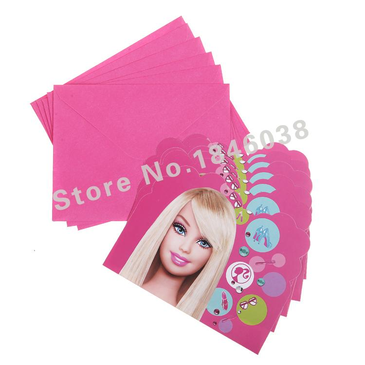 Wholesale Envelop Shape Barbie Theme Party Invitation Card Kids Baby ...