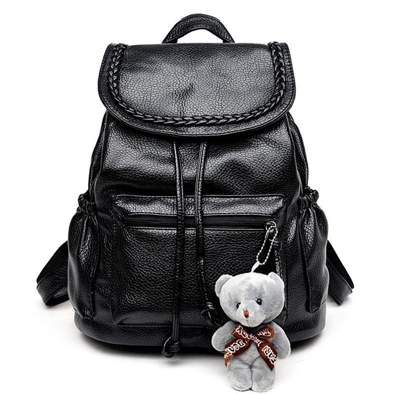 d570b6fb4c Wholesale Korean Fashion Travel Backpack Black Women Backpacks Leisure  Student Schoolbag Soft PU Leather Women Bag Cute Backpacks For Girl  Mochilas Jansport ...