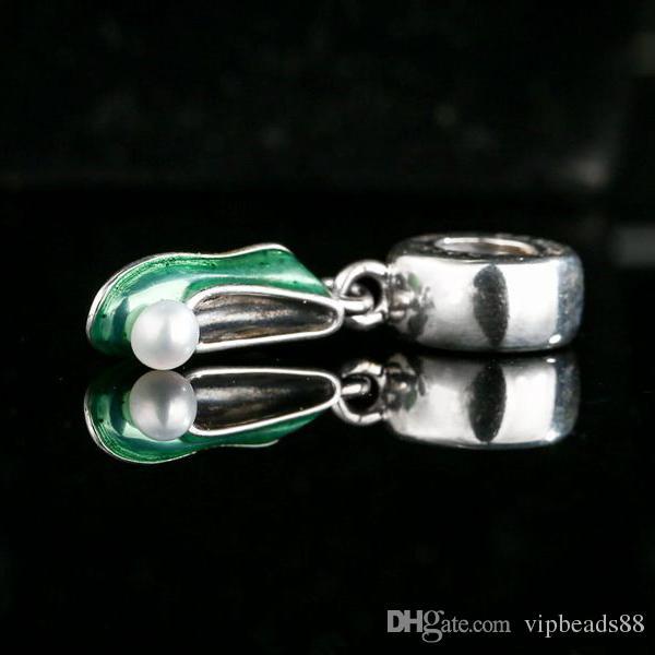 Shealia esmalte de agua dulce Pearl Tinker campanas zapato colgantes de los encantos 925 Sterling Silver cuelgan cuentas de cuento de hadas para la fabricación de joyas