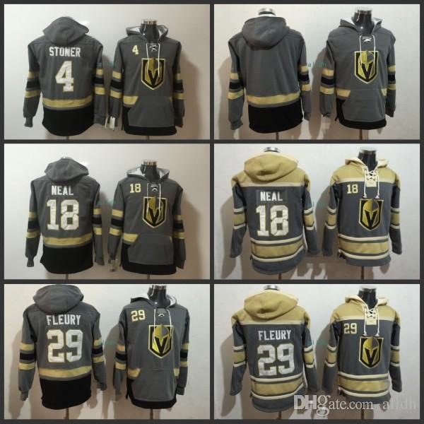 hot sale online a9bb4 ec43a #29 Marc-Andre Fleury Hockey Hoodies Vegas Golden Knights 18 James Neal 4  Clayton Stoner Blank Grey Hoodie Jerseys Hoodied All Stich Hoody