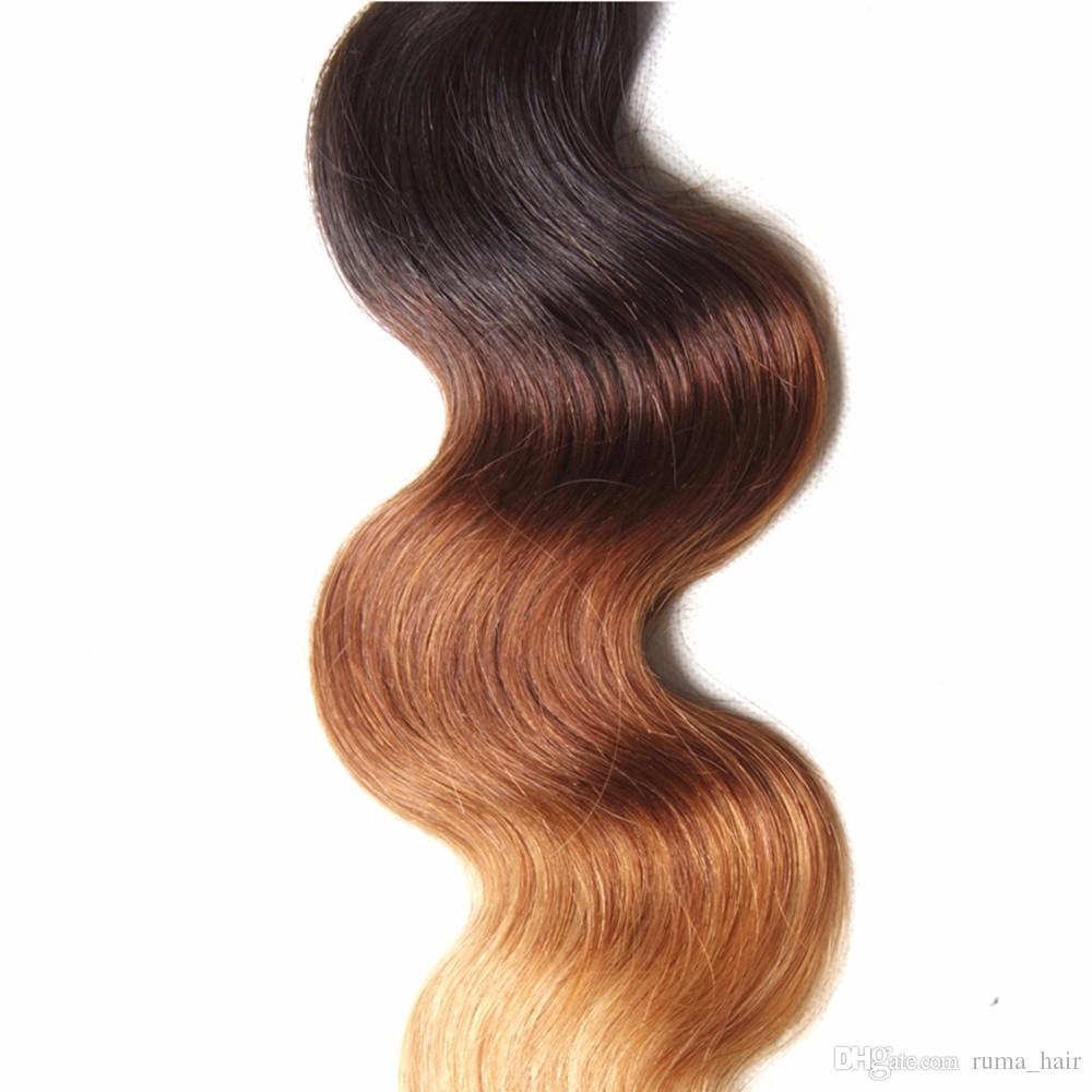 Omber #1b/4/27 Body Wave Hair Extension Brazilian Human Weave Hair Ombre Honey Blonde Hair Extension Brown Blonde Bundles