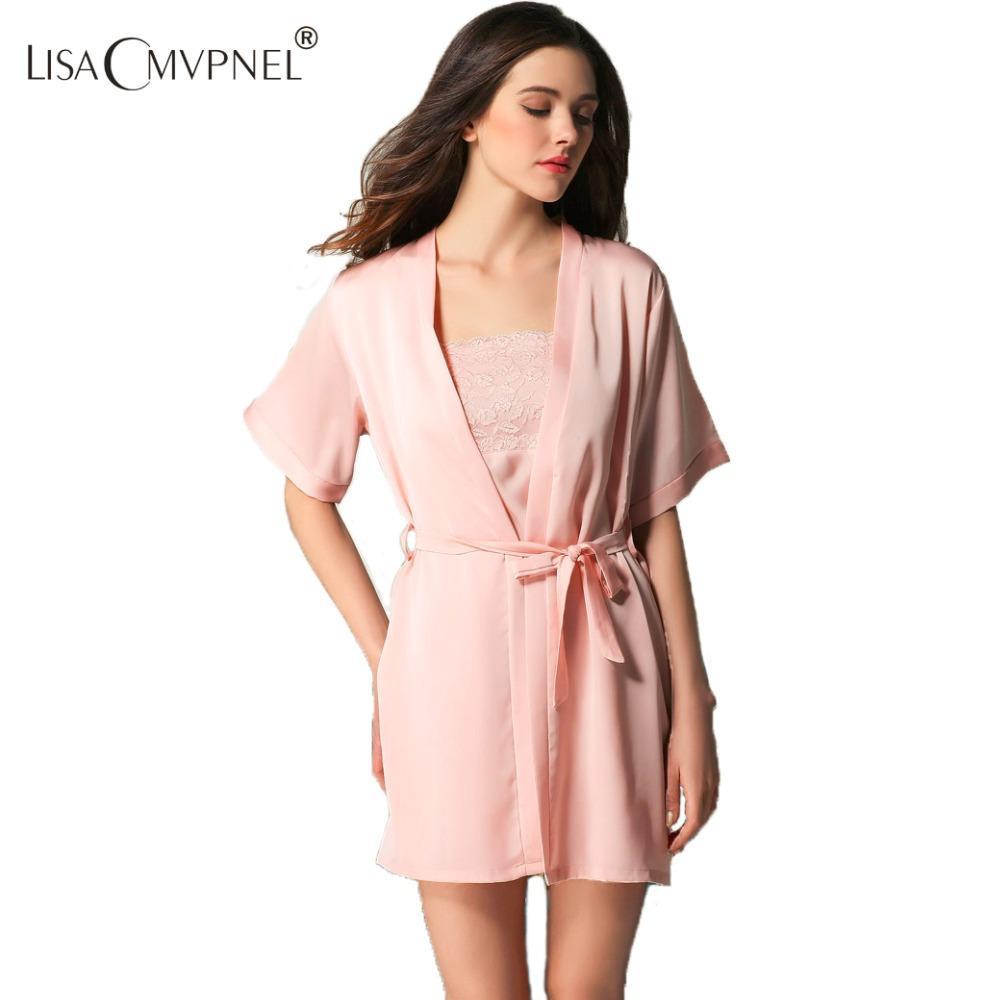 ef72e6793da 2019 Wholesale Lisacmvpnel Spring Rayon Women Half Sleeve Robe Set Female  Sexy Lace Sleepwear Nightgown+Robe Twinset Lounge From Freea