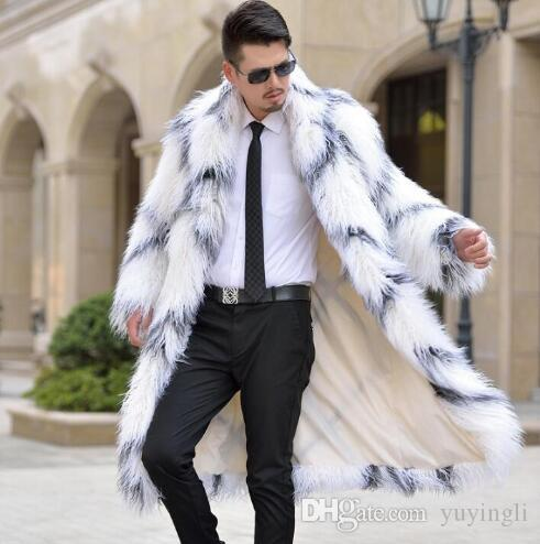 14fa0bb10 Warm casual faux rabbit long fur coat mens leather jacket men coats villus  winter loose thermal outerwear collar european