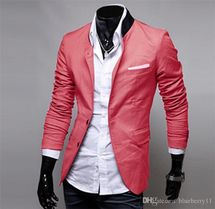 Moda Inverno Nero Rosso Grigio Abbigliamento casual da uomo in cotone manica lunga casual Slim Fit elegante giacca Blazer Cappotti Giacche