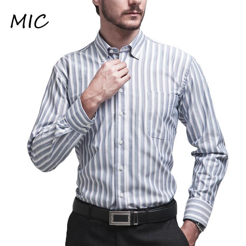 e0eeb9b1204 Wholesale- Mens Brand Shirts Long Sleeve Oxford Stripes Button Down ...