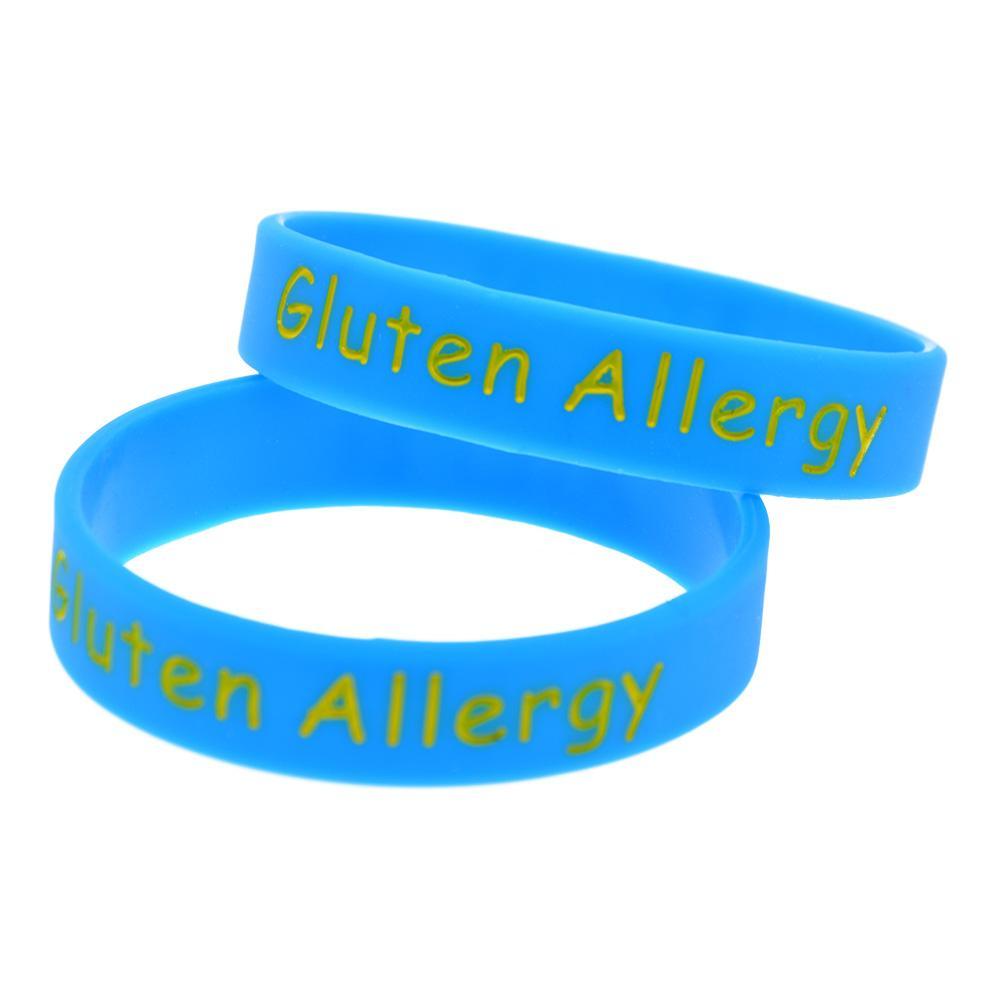 Il polsino del silicone di allergia del glutine i bambini trasporta questo messaggio come promemoria nella vita quotidiana da indossare questo braccialetto