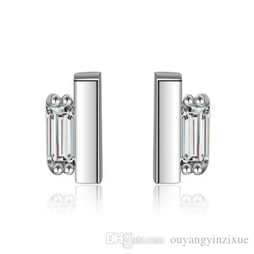 3df6df3af499a lady jewelry 925 Sterling Silver Crystal Rectangle Shaped Ear Stud Dangle  Earrings for friend party(Color:Silver)