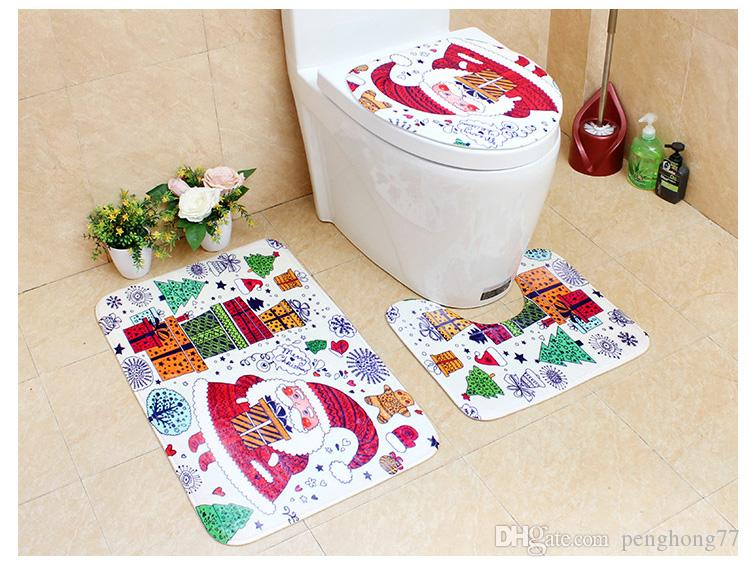 2017 New Year Christmas Bathroom Floor Carpeting Cartoon Santa Claus Snowmen Reindeer Mat Set Toilet Seat Cover Indoor