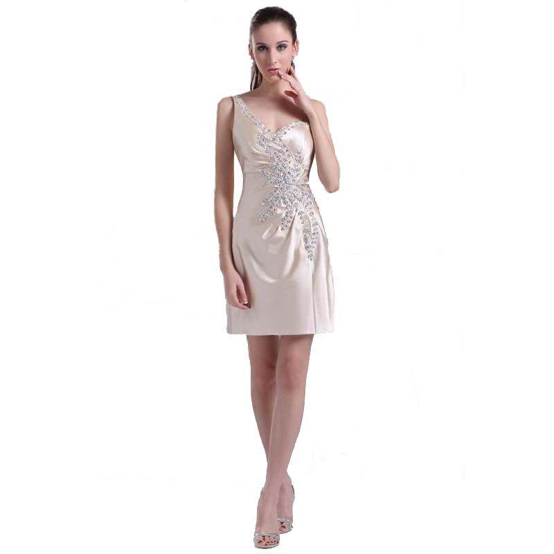 Großhandel Sexy Mantel Kleid Schulter Champagne Party Kleid Perlen ...