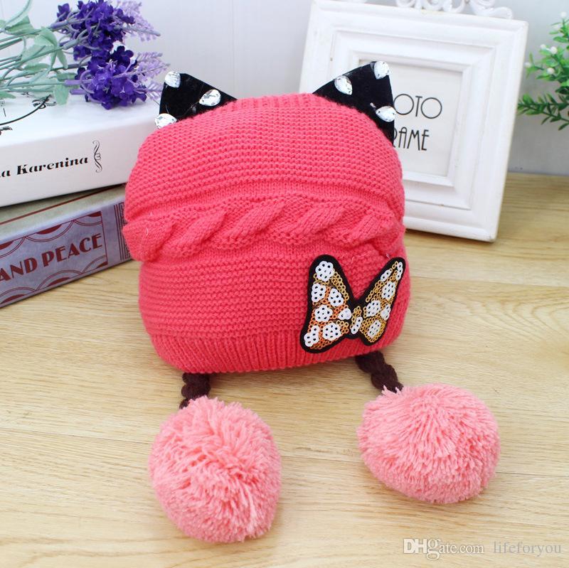 Sombreros de bebé Sombrero de gato lindo Invierno cálido Sombrero de lana Animal de punto gorritas tejidas Regalos para niños pequeños 0-3 años