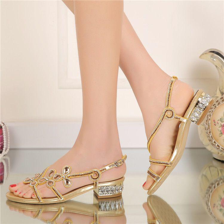 Brand New Fashion Women's Flat Sandals Rhinestone Decorated Summer Shoes Diamond Lady's Plus Size Euro 34~44 Beach Shoes