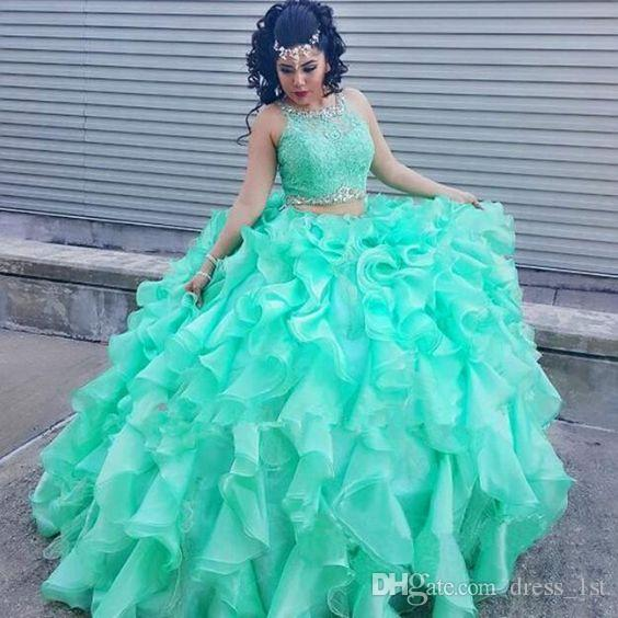 Classic 2017 Bright Green Cascading Ruffle Ball Gowns Quinceanera Dresses Two Piece Lace Beads Tiered Dress For 15 Custom Made EN8043