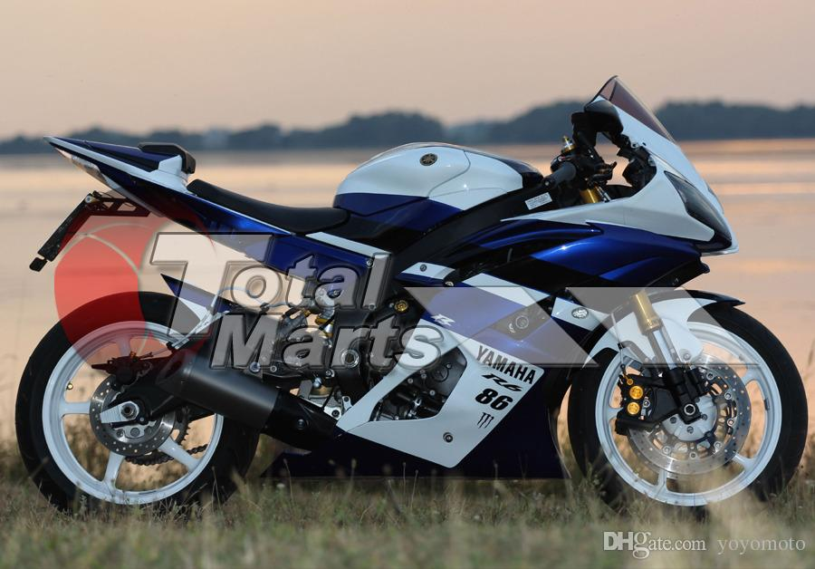 Carenados Yamaha YZF-R6 YZFR6 2008 2009 2010 2011 2012 2013 08-13 Inyección azul fd3681 Azul-Blanco 86 fd3686