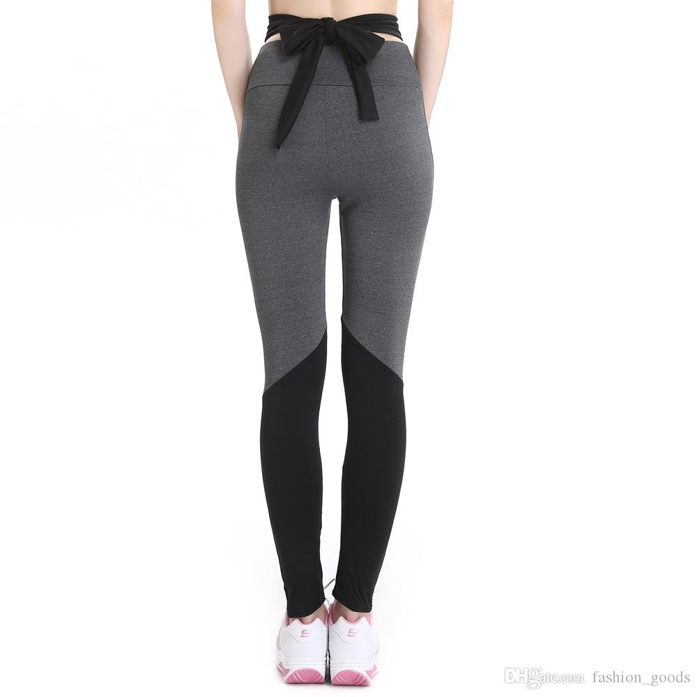 Meilleur cadeau Nouveau sangles taille haute noeud papillon couleur pied exercice fitness leggings yoga LG044 Leggings pour femmes