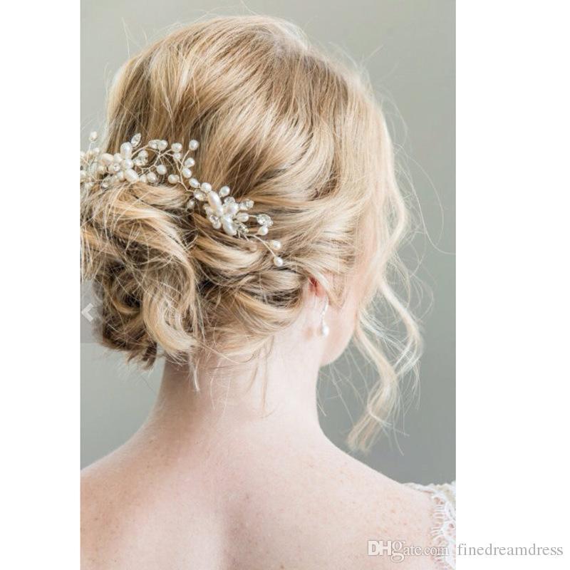 Wedding bridal Hand Made Pearls Hair Pins Beaded Crystals Hair U Clip Accessories