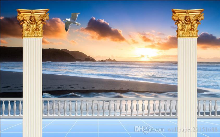 Klassische Tapete für Wände Meerblick Römische Säule TV Hintergrund Wand 3D Wandbilder Tapete für Wohnzimmer