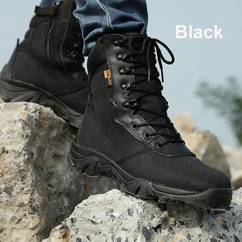 e21baa7e64 2019 2017 New Outdoor Tactical Combat Boots Sport Army Men Ankle Desert  Boots Black Botas Autumn Winter Waterproof Travel Hiking Shoes From  Michael blue